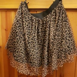 Leopard print mesh tulle skirt